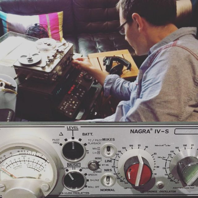 Our Audio Engineer Matt Brace playing with a Nagra IV S potable tape machine for today's session with Inside Number 9 clients #audiotech #nagra #taperecorder #linearrecording #linear #sound #audio #postproduction #soho #website